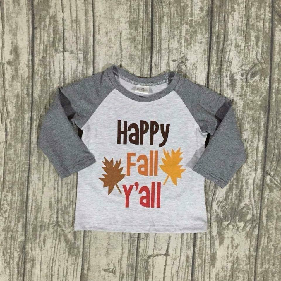 Happy Fall Y'all Raglan - Nico Bella Boutique