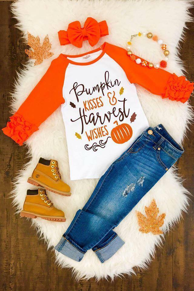 Pumpkin Kisses & Harvest Wishes Icing Raglans - Nico Bella Boutique