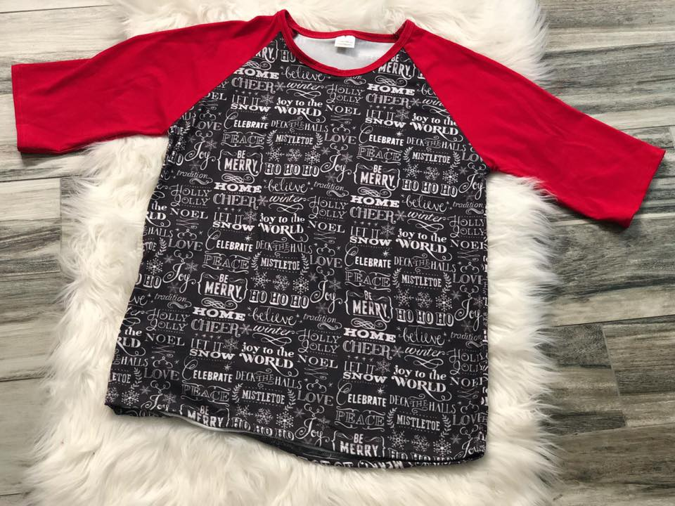 Womens Christmas Saying Raglan - Nico Bella Boutique