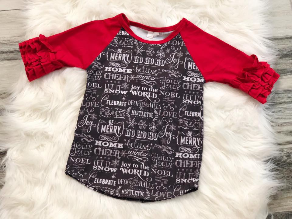 Girls Christmas Saying Icing Raglan - Nico Bella Boutique