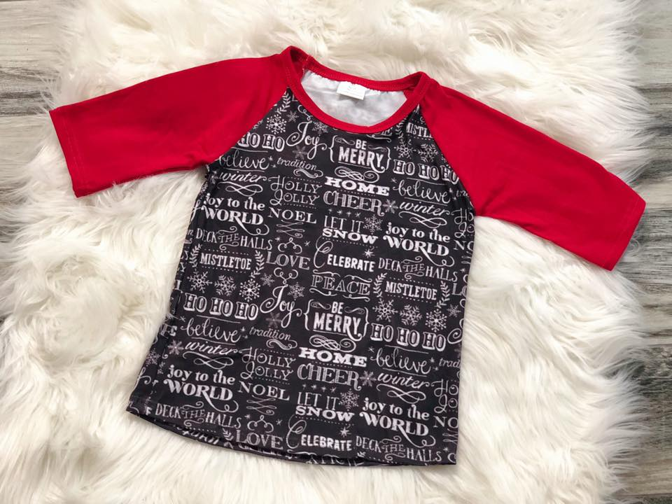 Boys Christmas Saying Raglan - Nico Bella Boutique