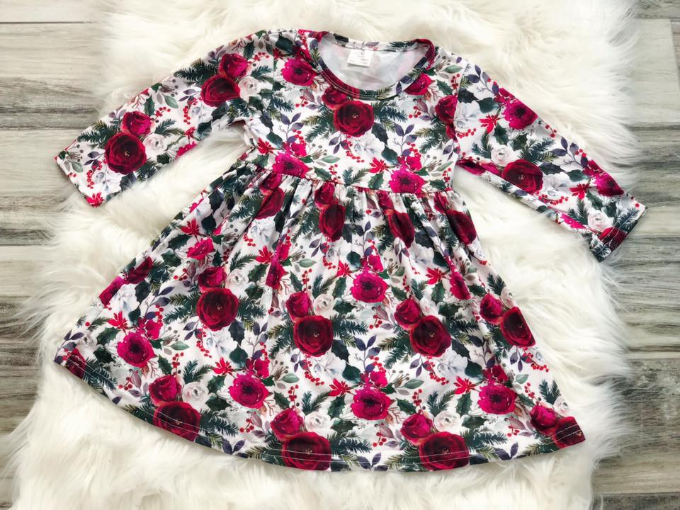 Christmas Rose Wreath Dress - Nico Bella Boutique
