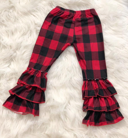 Buffalo Plaid Triple Ruffle Pants - Nico Bella Boutique