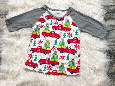Christmas Truck Raglan - Nico Bella Boutique