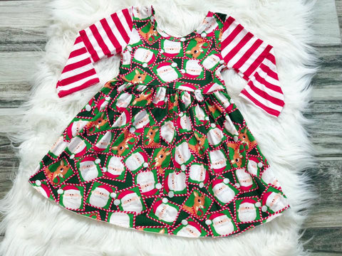 Rudolph Santa Christmas Twirl Dress - Nico Bella Boutique