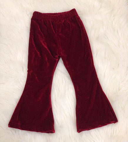 Burgundy Velvet Bell Bottom Pants - Nico Bella Boutique