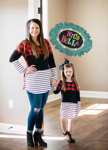 Girls Buffalo Plaid Stripe Tunic - Nico Bella Boutique
