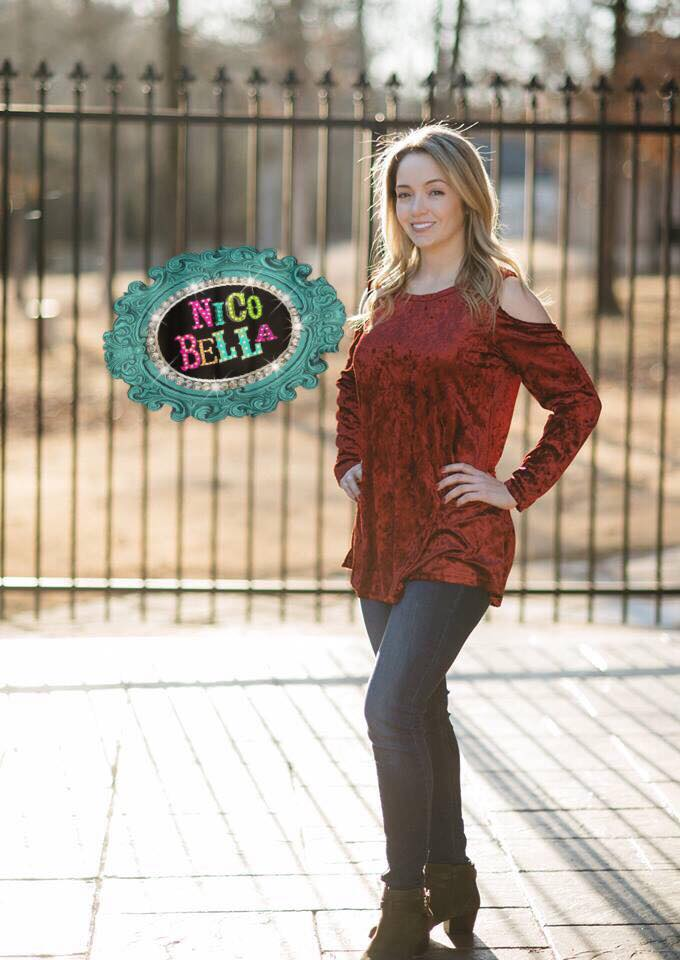Red Velvet Cold Shoulder Tunic - Nico Bella Boutique