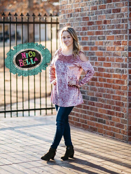 Pink Velvet Cold Shoulder Tunic - Nico Bella Boutique