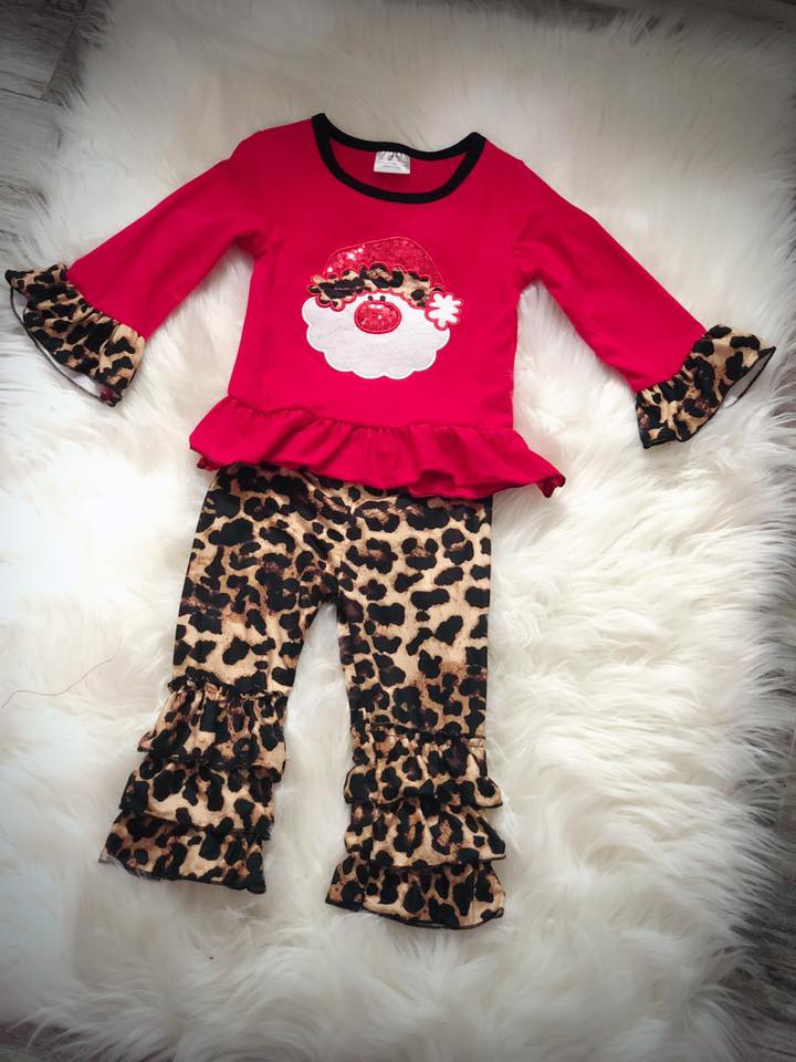 Santa Christmas Cheetah Set - Nico Bella Boutique