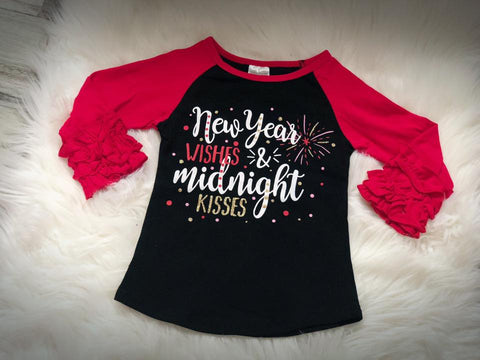 New Year Wishes & Midnight Kisses Icing Raglan - Nico Bella Boutique