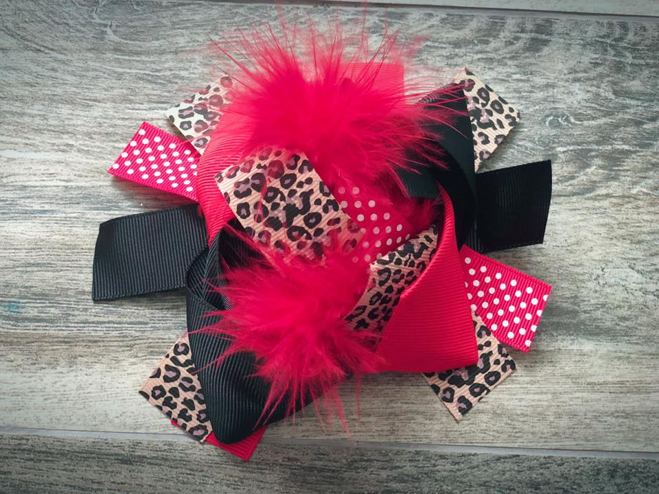 Red & Cheetah Feather Bow - Nico Bella Boutique