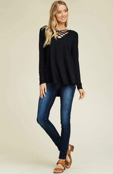 Lattice Cross Neck Tops - Nico Bella Boutique