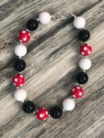 Black & Red Polka Dot Bubblegum Necklace - Nico Bella Boutique