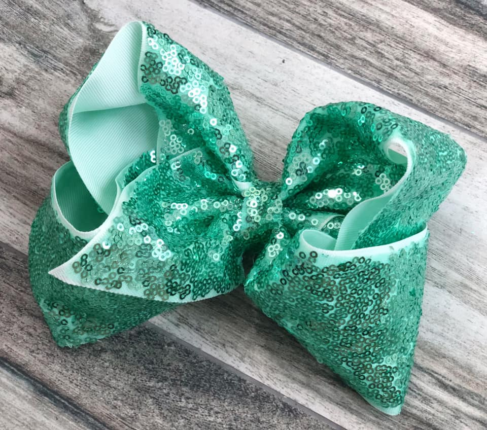 Mint Sequin Bow - Nico Bella Boutique