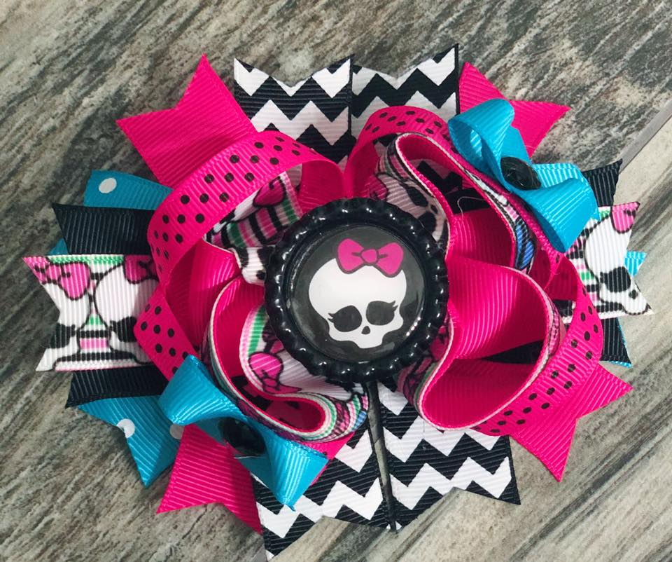 Skull Monster High Hair Bow - Nico Bella Boutique