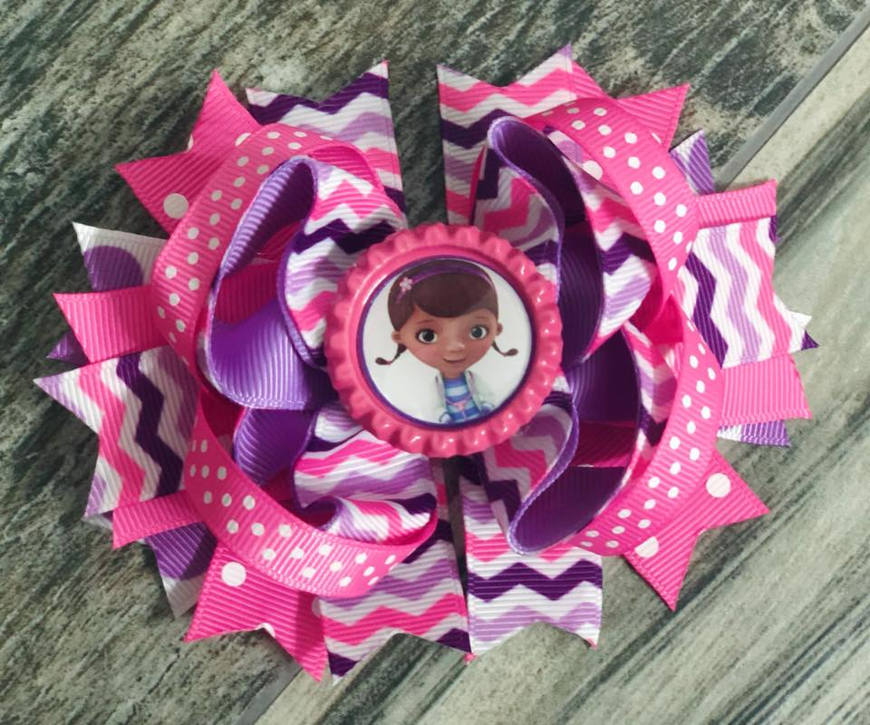 Dr. McStuffins Chevron Hair Bow - Nico Bella Boutique