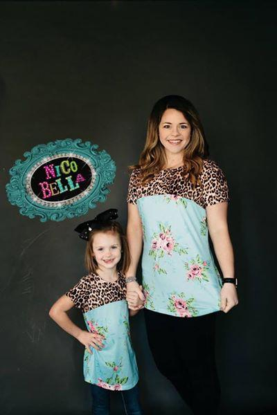 Leopard Floral Girls Tee - Nico Bella Boutique