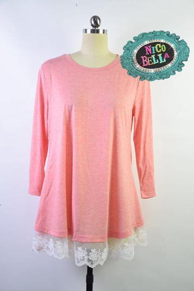 Coral Lace Bottom Tunic - Nico Bella Boutique