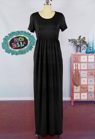Black Solid Short Sleeve Maxi Dress - Nico Bella Boutique