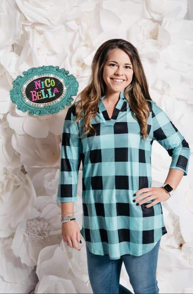 Turquoise Buffalo Plaid 3/4 Sleeve Top - Nico Bella Boutique