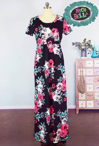Black Floral Short Sleeve Maxi Dress - Nico Bella Boutique