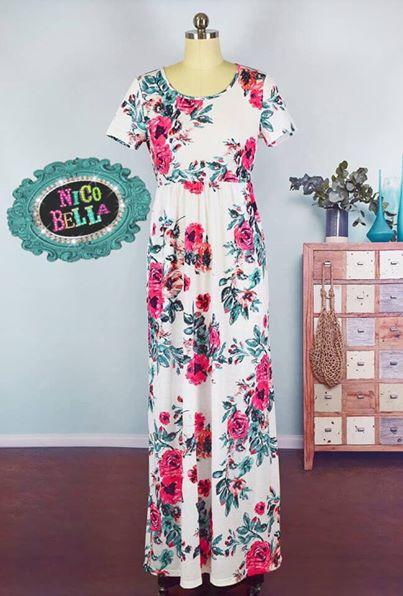 White Floral Short Sleeve Maxi Dress - Nico Bella Boutique