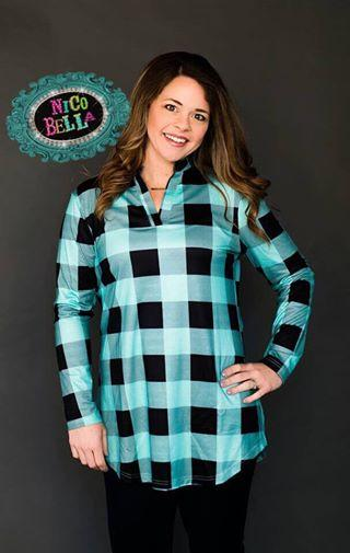 Turquoise Buffalo Plaid Long Sleeve Top - Nico Bella Boutique