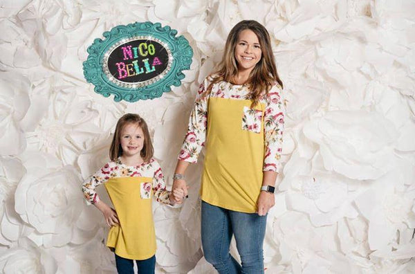 Yellow Color Block Floral Top - Nico Bella Boutique