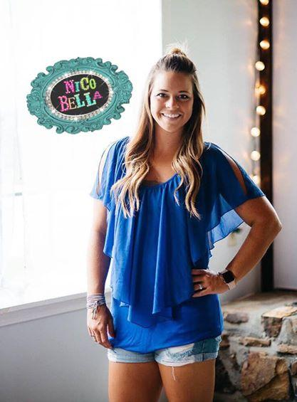 Blue Chiffon Ruffle Blouse - Nico Bella Boutique