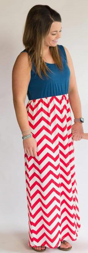 Navy and Red Chevron Tank Maxi Dress - Nico Bella Boutique
