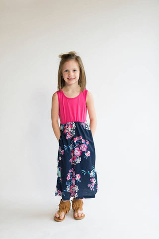 Girls Hot Pink and Navy Floral Maxi Dress - Nico Bella Boutique