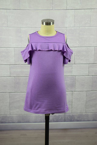 Girls Lavender Cold Shoulder Ruffle Top - Nico Bella Boutique