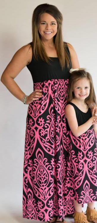 Black and Hot Pink Damask Tank Maxi Dress - Nico Bella Boutique