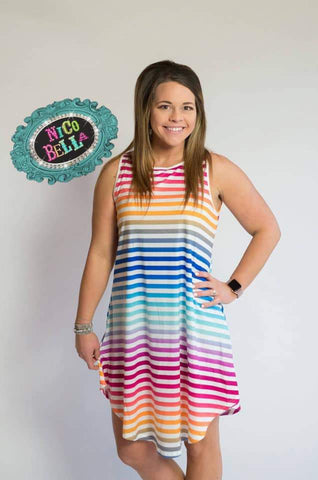 Rainbow Ombre Dress - Nico Bella Boutique