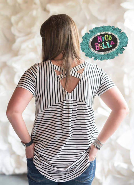 Black and White Stripe Criss Cross Tunic - Nico Bella Boutique