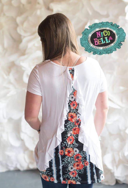 White and Navy Floral Ruffle Back Tunic - Nico Bella Boutique