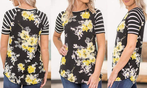 Black and Yellow Floral Tee - Nico Bella Boutique