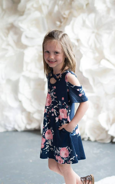 Girls Navy Floral Cold Shoulder Criss Cross Dress - Nico Bella Boutique