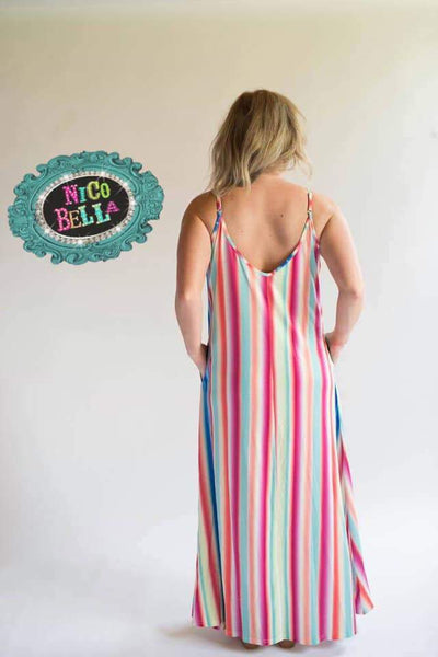Cabana Spaghetti Strap Stripe Maxi Dress - Nico Bella Boutique