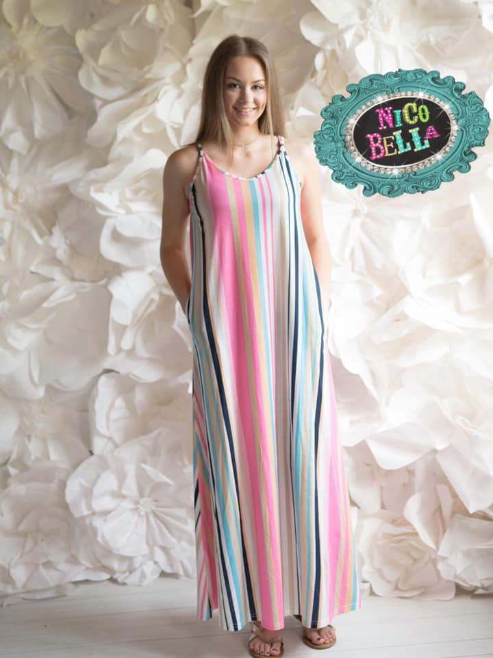 Lake Home Spaghetti Strap Striped Maxi Dress - Nico Bella Boutique