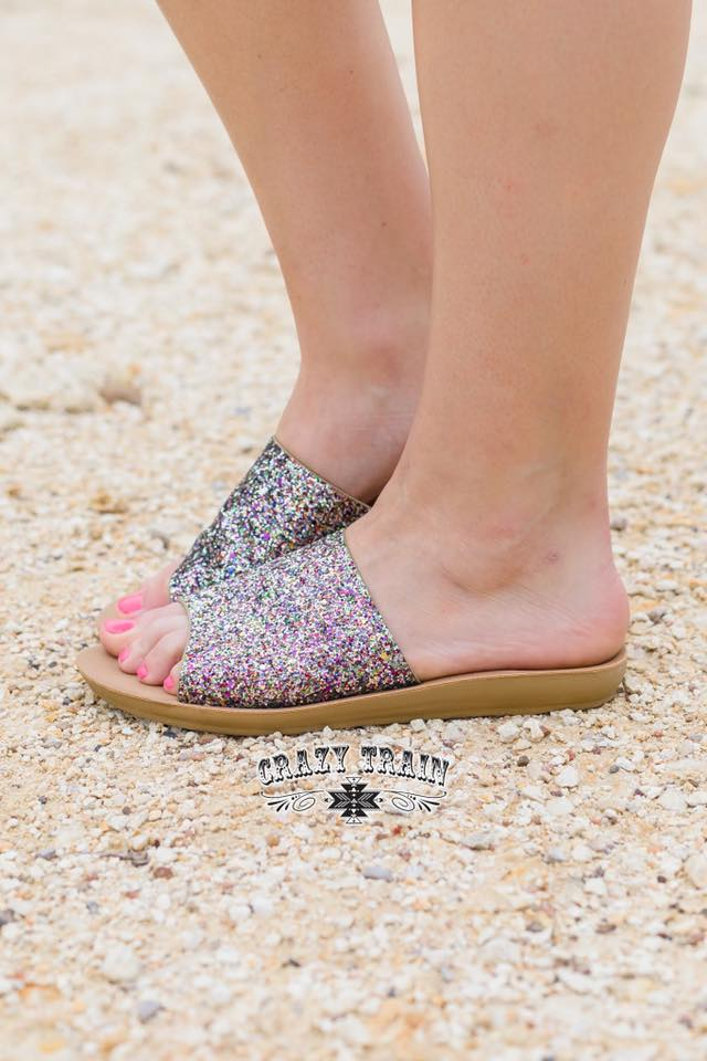 Showstopper Glitter Slides - Nico Bella Boutique