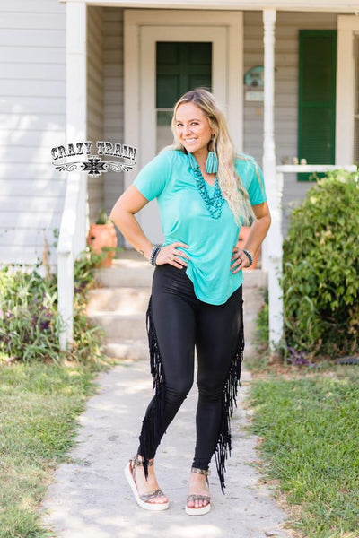On The Fly Fringe Skinnies - Nico Bella Boutique