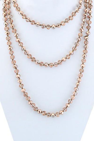Rose Gold Crystal Beaded Necklace - Nico Bella Boutique