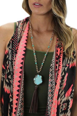 Champagne Turquoise Crystal Tassel Necklace - Nico Bella Boutique
