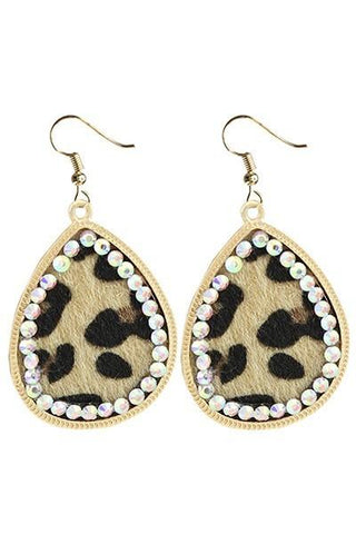 Leopard Crystal Lined Hide Earrings - Nico Bella Boutique