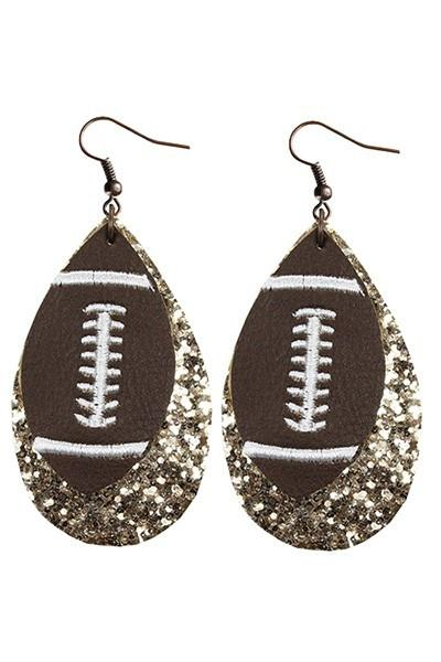 Football Gold Leather Earrings - Nico Bella Boutique