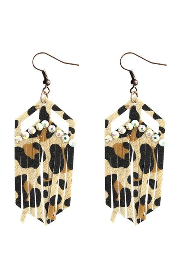 Leopard Fringe Cut Crystal Earrings - Nico Bella Boutique