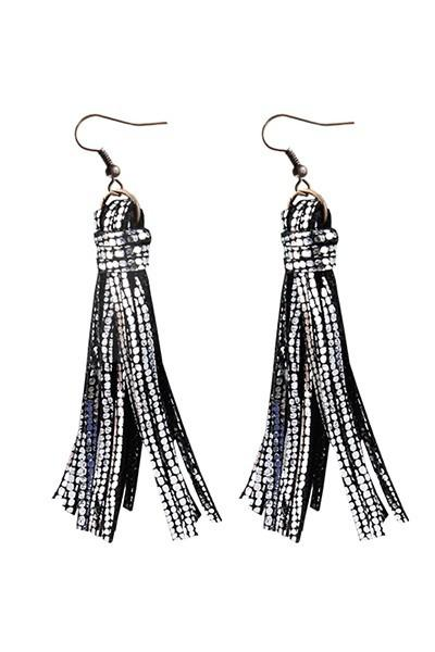 Silver and Black Tassel Fringe Earrings - Nico Bella Boutique