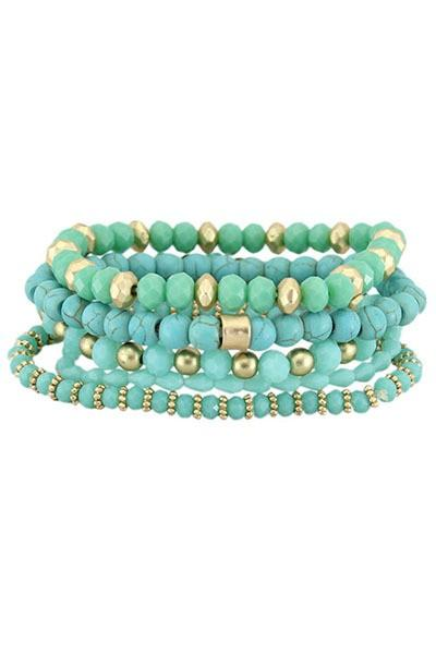 Turquoise and Gold Layered Bracelet Set - Nico Bella Boutique